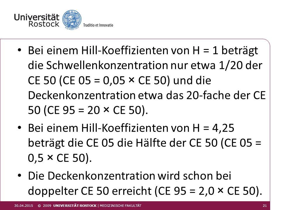 © 2009 UNIVERSITÄT ROSTOCK | MEDIZINISCHE FAKULTÄT 30.04.2015 Bei einem Hill-Koeffizienten von H = 1 beträgt die Schwellenkonzentration nur etwa 1/20