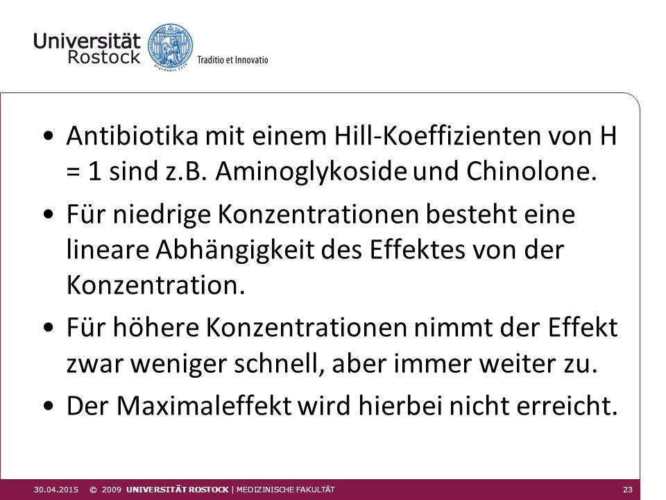 Antibiotika mit einem Hill-Koeffizienten von H = 1 sind z.B. Aminoglykoside und Chinolone. Für niedrige Konzentrationen besteht eine lineare Abhängigk