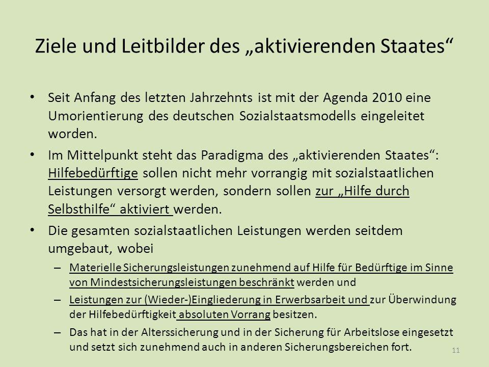 """Ziele und Leitbilder des """"aktivierenden Staates"""" Seit Anfang des letzten Jahrzehnts ist mit der Agenda 2010 eine Umorientierung des deutschen Sozialst"""