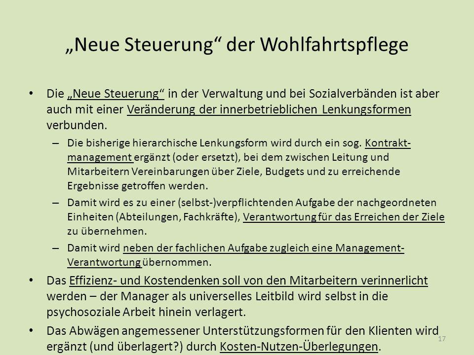 """""""Neue Steuerung"""" der Wohlfahrtspflege Die """"Neue Steuerung"""" in der Verwaltung und bei Sozialverbänden ist aber auch mit einer Veränderung der innerbetr"""