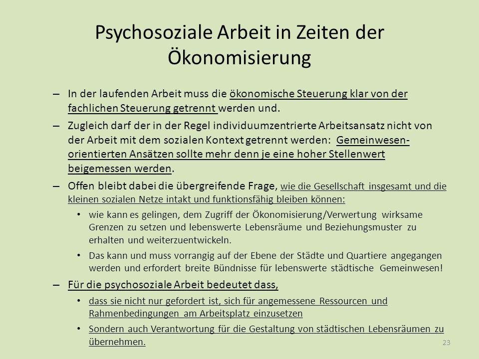 Psychosoziale Arbeit in Zeiten der Ökonomisierung – In der laufenden Arbeit muss die ökonomische Steuerung klar von der fachlichen Steuerung getrennt