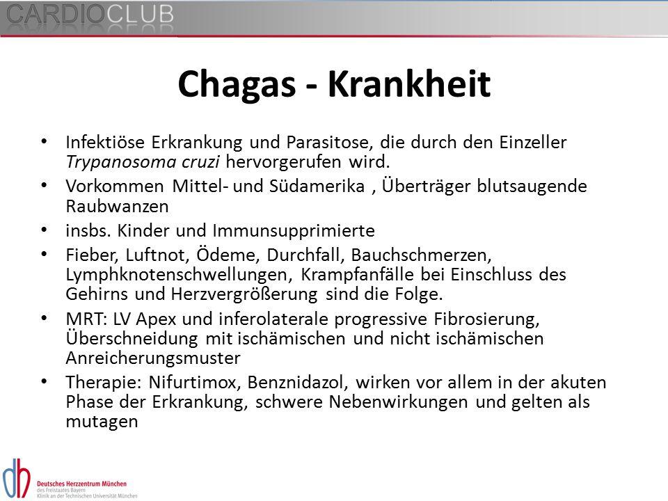 Chagas - Krankheit Infektiöse Erkrankung und Parasitose, die durch den Einzeller Trypanosoma cruzi hervorgerufen wird. Vorkommen Mittel- und Südamerik