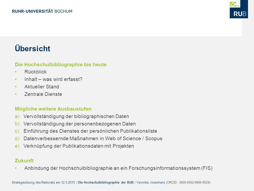 Strategiesitzung des Rektorats am 12.5.2015 | Die Hochschulbibliographie der RUB | Veronika Josenhans (ORCID: 0000-0002-9806-8526) Übersicht Die Hochs