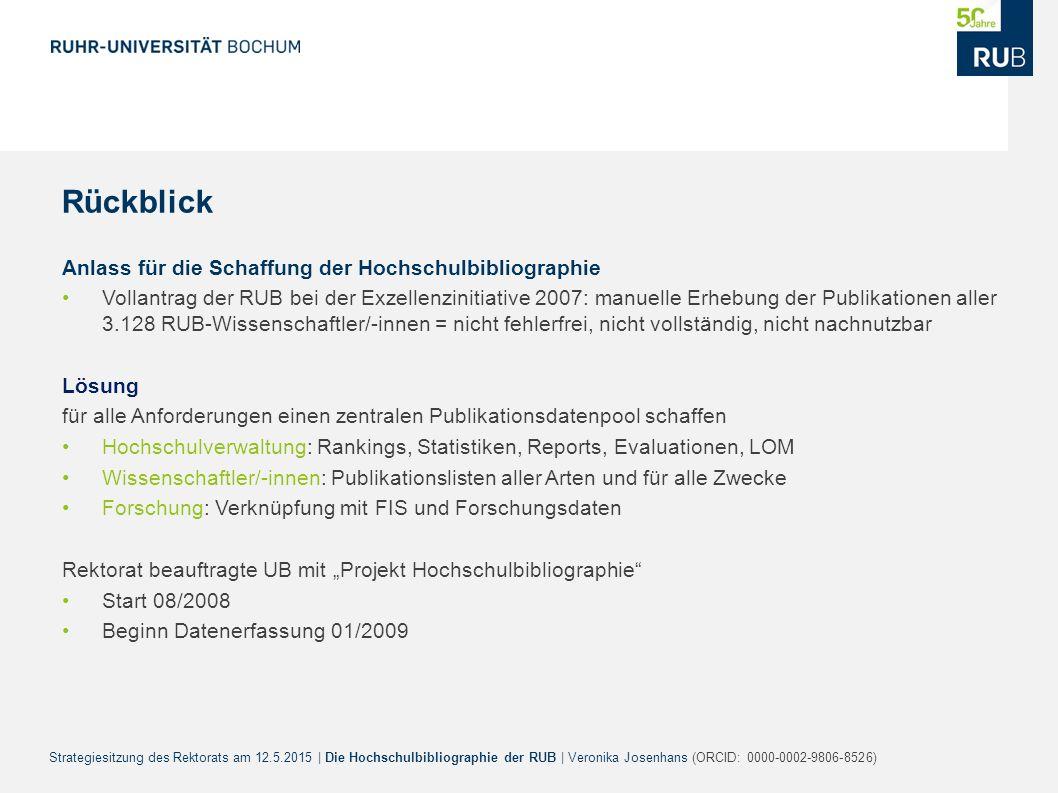 Strategiesitzung des Rektorats am 12.5.2015 | Die Hochschulbibliographie der RUB | Veronika Josenhans (ORCID: 0000-0002-9806-8526) Rückblick Anlass fü