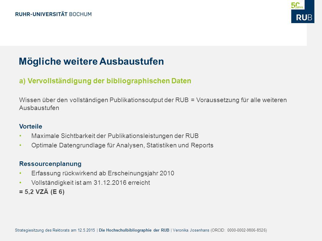 Strategiesitzung des Rektorats am 12.5.2015 | Die Hochschulbibliographie der RUB | Veronika Josenhans (ORCID: 0000-0002-9806-8526) a) Vervollständigun