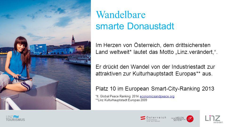 """Im Herzen von Österreich, dem drittsichersten Land weltweit* lautet das Motto """"Linz.verändert, ."""