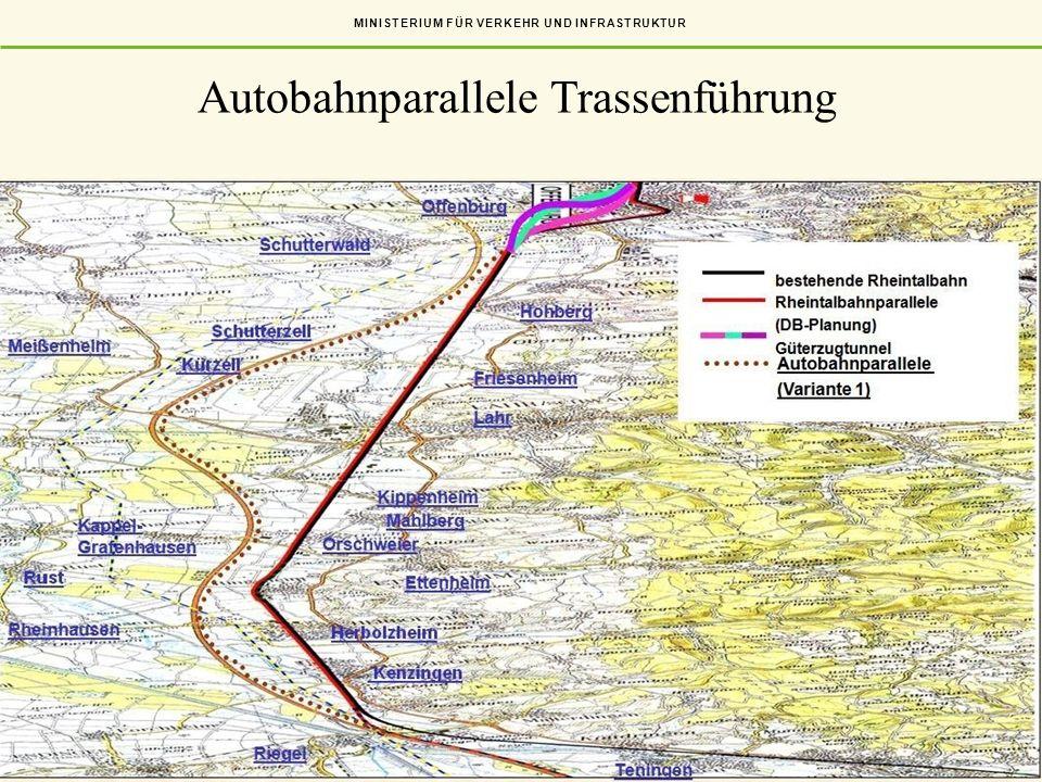 MINISTERIUM FÜR VERKEHR UND INFRASTRUKTUR Folie 11 Autobahnparallele Trassenführung