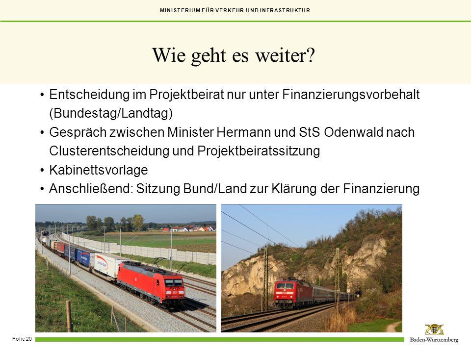 MINISTERIUM FÜR VERKEHR UND INFRASTRUKTUR Folie 20 Entscheidung im Projektbeirat nur unter Finanzierungsvorbehalt (Bundestag/Landtag) Gespräch zwische
