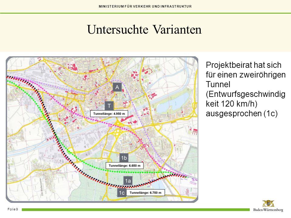 MINISTERIUM FÜR VERKEHR UND INFRASTRUKTUR Folie 9 Untersuchte Varianten Projektbeirat hat sich für einen zweiröhrigen Tunnel (Entwurfsgeschwindig keit