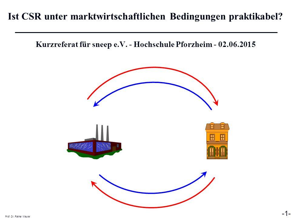Ist CSR unter marktwirtschaftlichen Bedingungen praktikabel? Prof. Dr. Rainer Maurer -1- Kurzreferat für sneep e.V. - Hochschule Pforzheim - 02.06.201