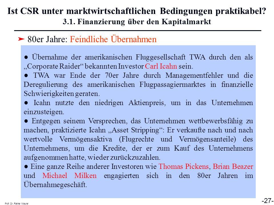 ➤ 80er Jahre: Feindliche Übernahmen Prof. Dr. Rainer Maurer -27- Ist CSR unter marktwirtschaftlichen Bedingungen praktikabel? 3.1. Finanzierung über d