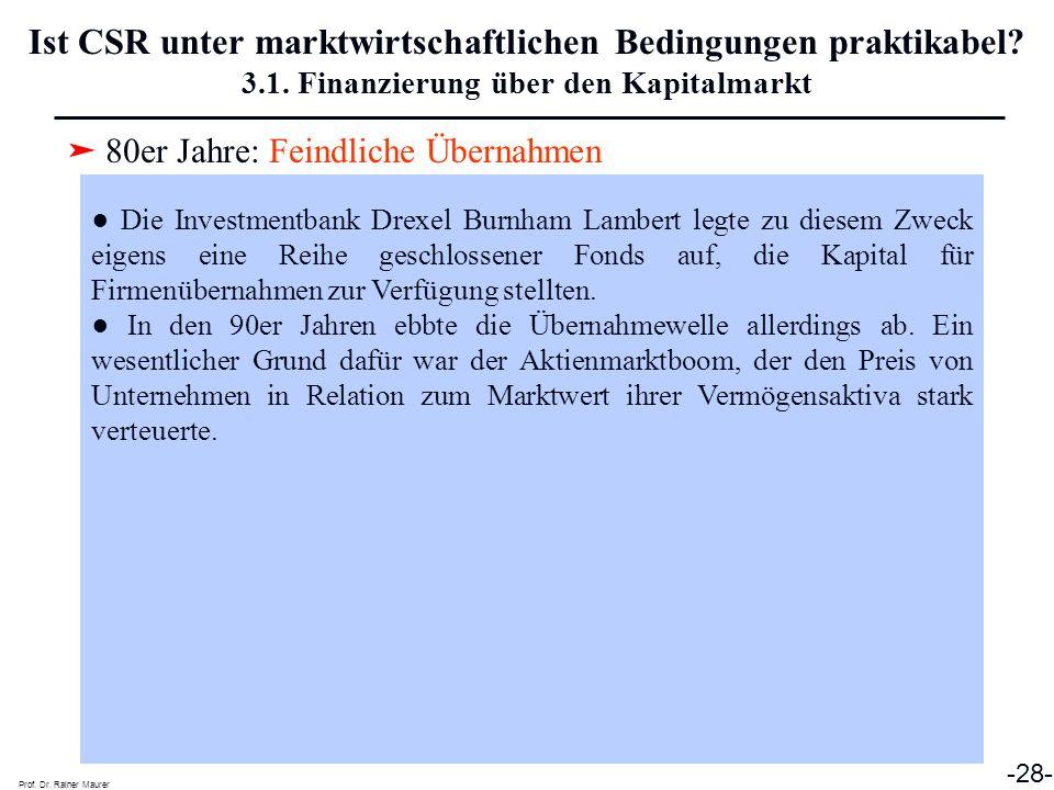 ➤ 80er Jahre: Feindliche Übernahmen Prof. Dr. Rainer Maurer -28- Ist CSR unter marktwirtschaftlichen Bedingungen praktikabel? 3.1. Finanzierung über d