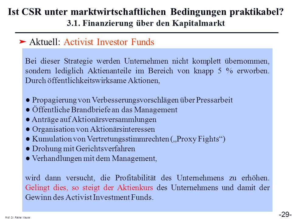 ➤ Aktuell: Activist Investor Funds Prof. Dr. Rainer Maurer -29- Ist CSR unter marktwirtschaftlichen Bedingungen praktikabel? 3.1. Finanzierung über de