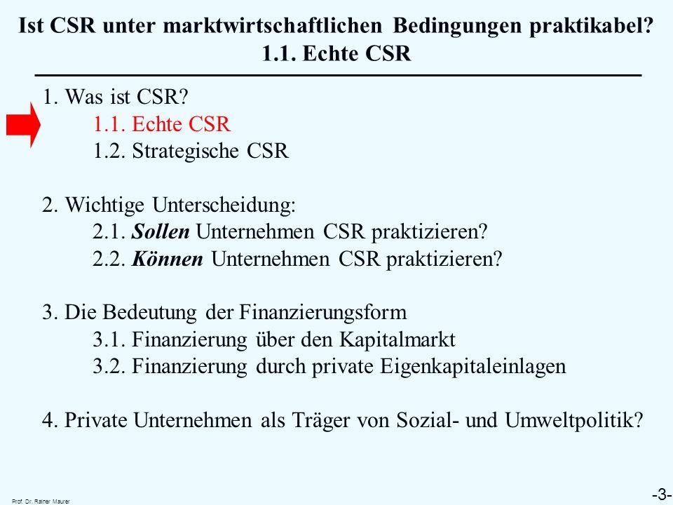 1. Was ist CSR? 1.1. Echte CSR 1.2. Strategische CSR 2. Wichtige Unterscheidung: 2.1. Sollen Unternehmen CSR praktizieren? 2.2. Können Unternehmen CSR