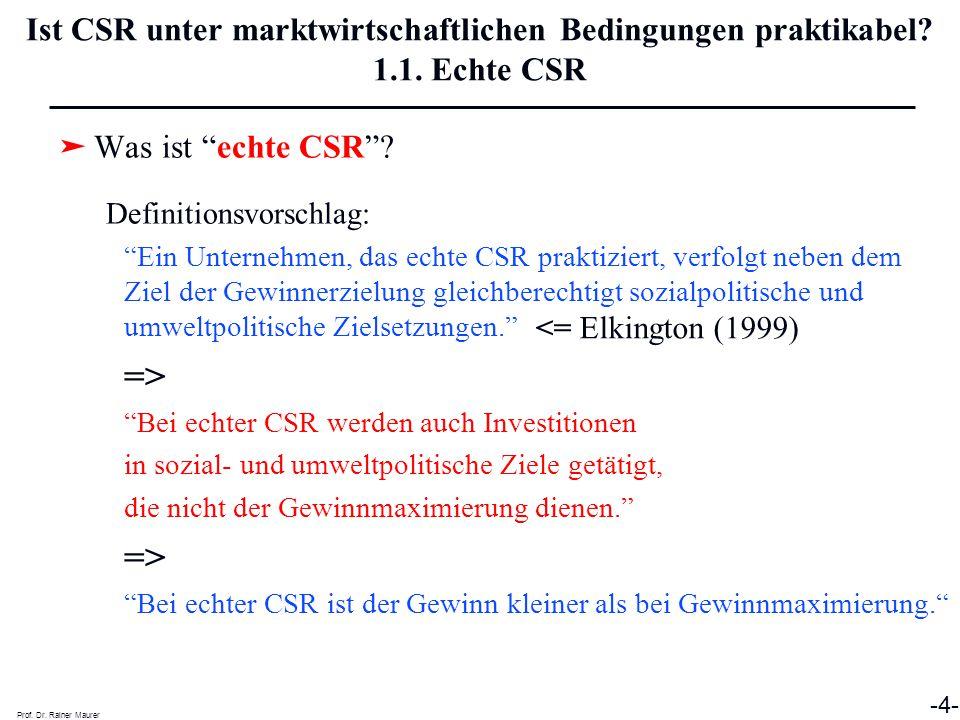 Prof.Dr. Rainer Maurer -5- Ist CSR unter marktwirtschaftlichen Bedingungen praktikabel.