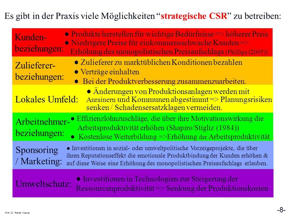 """Es gibt in der Praxis viele Möglichkeiten """"strategische CSR"""" zu betreiben: Prof. Dr. Rainer Maurer -8- Sponsoring / Marketing: Lokales Umfeld: Arbeitn"""