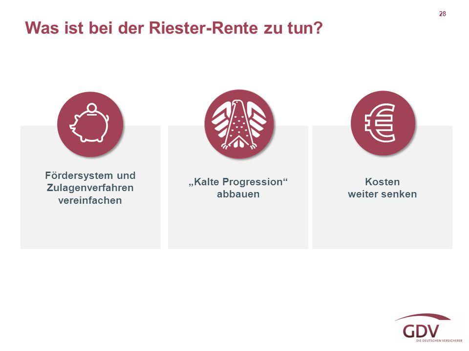 """28 Was ist bei der Riester-Rente zu tun? Fördersystem und Zulagenverfahren vereinfachen """"Kalte Progression"""" abbauen Kosten weiter senken"""