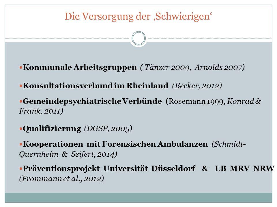 Die Versorgung der 'Schwierigen' Kommunale Arbeitsgruppen ( Tänzer 2009, Arnolds 2007) Konsultationsverbund im Rheinland (Becker, 2012) Gemeindepsychi