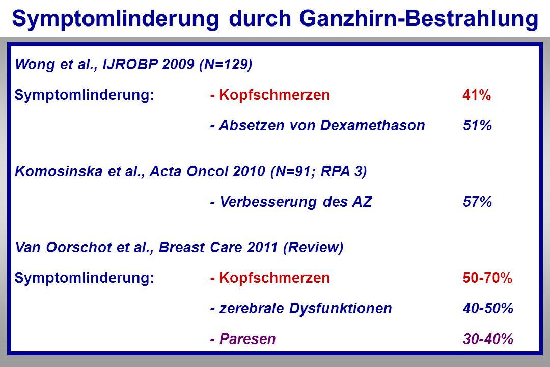 Symptomlinderung durch Ganzhirn-Bestrahlung Wong et al., IJROBP 2009 (N=129) Symptomlinderung:- Kopfschmerzen 41% - Absetzen von Dexamethason 51% Komo