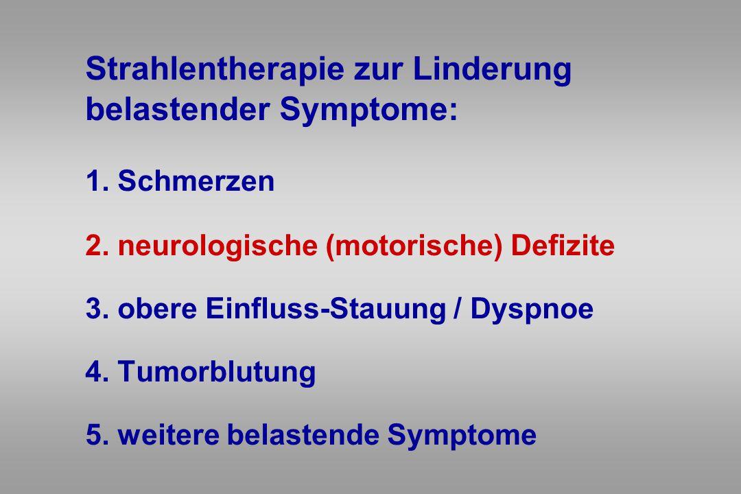 Strahlentherapie zur Linderung belastender Symptome: 1. Schmerzen 2. neurologische (motorische) Defizite 3. obere Einfluss-Stauung / Dyspnoe 4. Tumorb