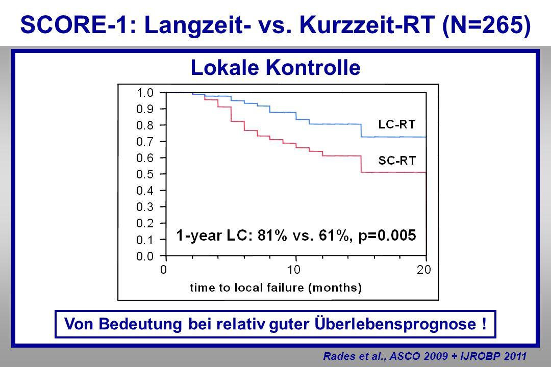 Lokale Kontrolle SCORE-1: Langzeit- vs. Kurzzeit-RT (N=265) Rades et al., ASCO 2009 + IJROBP 2011 Von Bedeutung bei relativ guter Überlebensprognose !