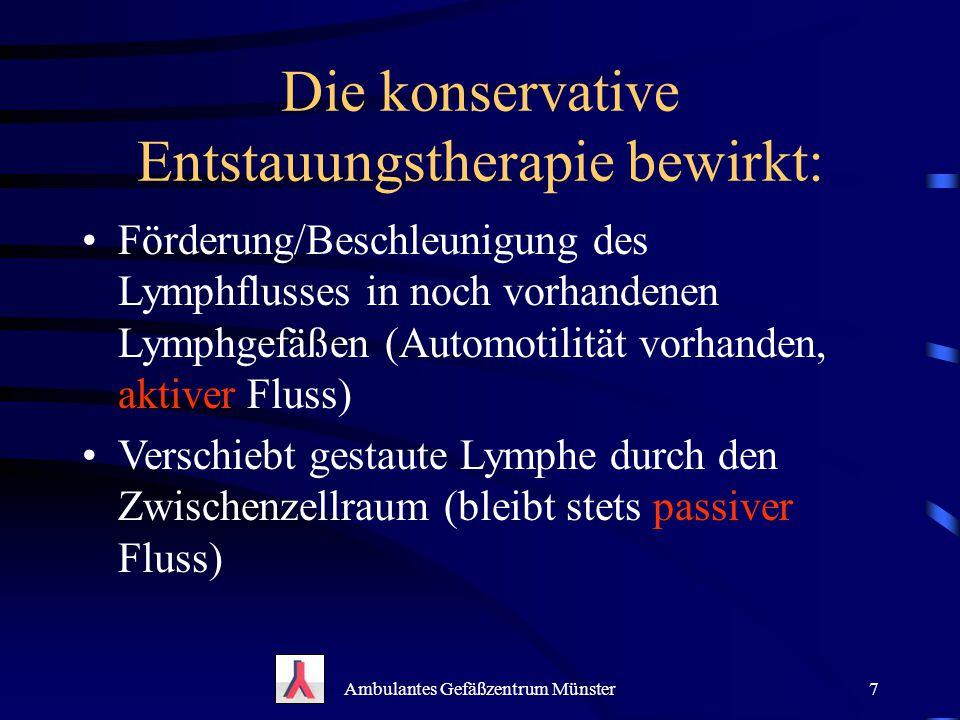 Die konservative Entstauungstherapie bewirkt: Förderung/Beschleunigung des Lymphflusses in noch vorhandenen Lymphgefäßen (Automotilität vorhanden, akt