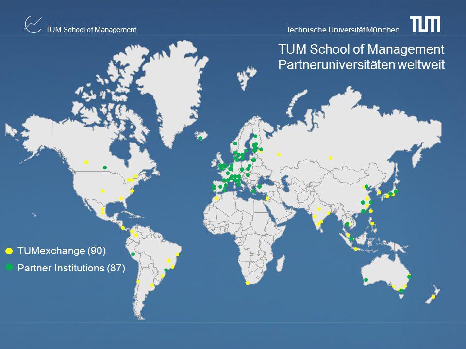 Technische Universität München TUM School of Management TUM School of Management Partneruniversitäten weltweit TUMexchange (90) Partner Institutions (