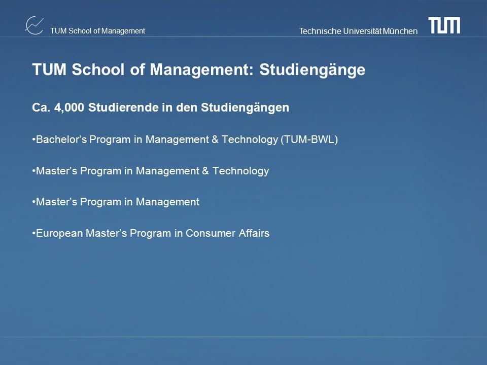 Technische Universität München TUM School of Management TUM School of Management: Studiengänge Ca. 4,000 Studierende in den Studiengängen Bachelor's P