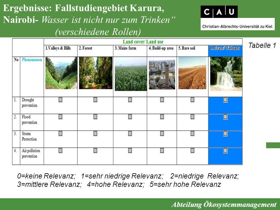 """Abteilung Ökosystemmanagement Ergebnisse: Fallstudiengebiet Karura, Nairobi- Wasser ist nicht nur zum Trinken"""" (verschiedene Rollen) 0=keine Relevanz;"""