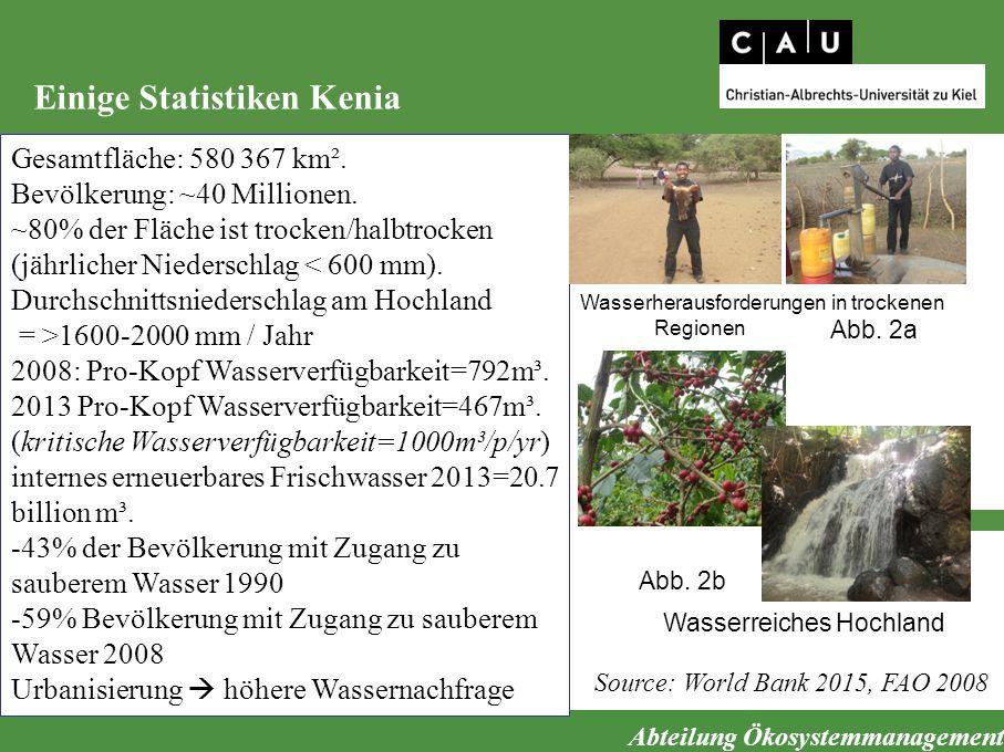 Abteilung Ökosystemmanagement Einige Statistiken Kenia Source: World Bank 2015, FAO 2008 Gesamtfläche: 580 367 km². Bevölkerung: ~40 Millionen. ~80% d