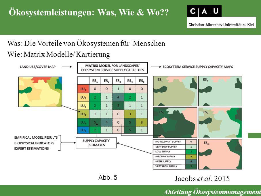 Abteilung Ökosystemmanagement Ökosystemleistungen: Was, Wie & Wo?? Was: Die Vorteile von Ökosystemen für Menschen Wie: Matrix Modelle/ Kartierung Jaco