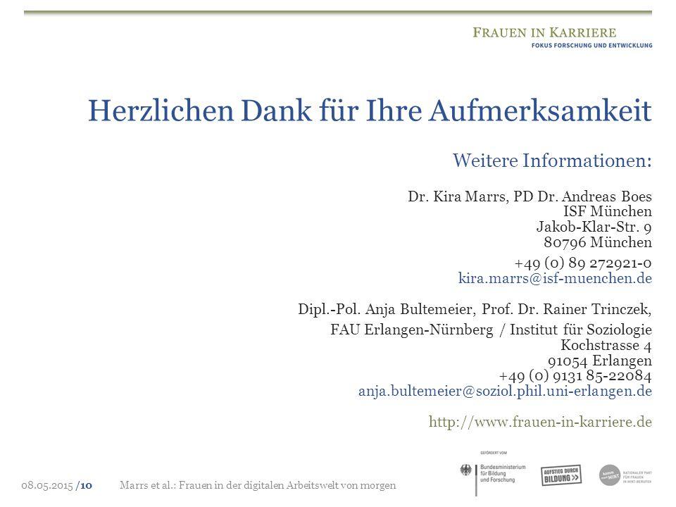 08.05.2015 /10Marrs et al.: Frauen in der digitalen Arbeitswelt von morgen Weitere Informationen: Dr. Kira Marrs, PD Dr. Andreas Boes ISF München Jako