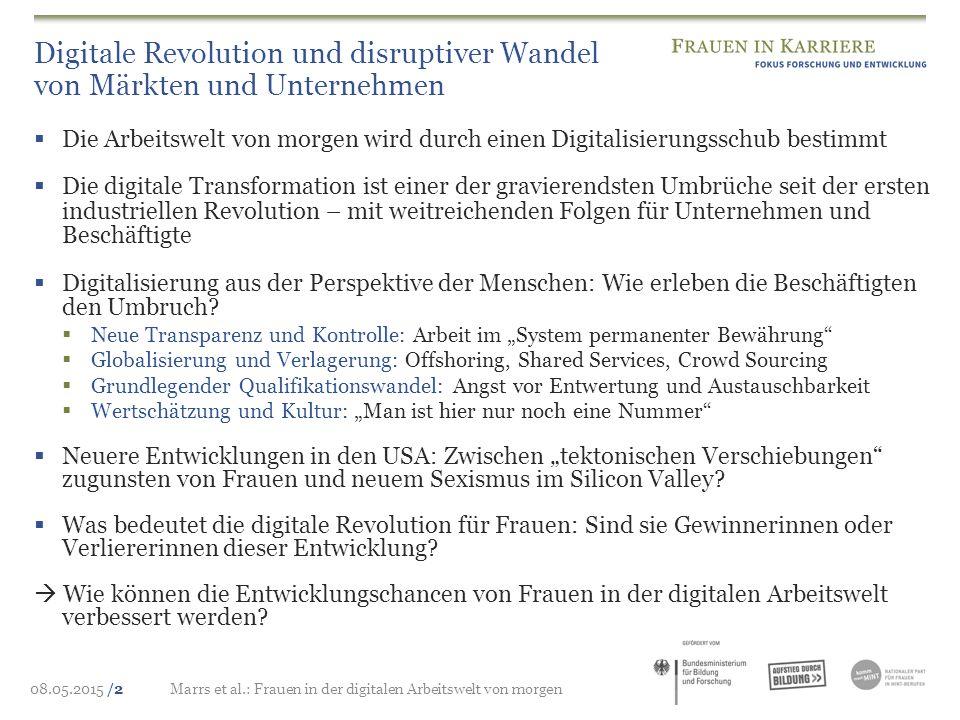08.05.2015 /2Marrs et al.: Frauen in der digitalen Arbeitswelt von morgen Digitale Revolution und disruptiver Wandel von Märkten und Unternehmen  Die