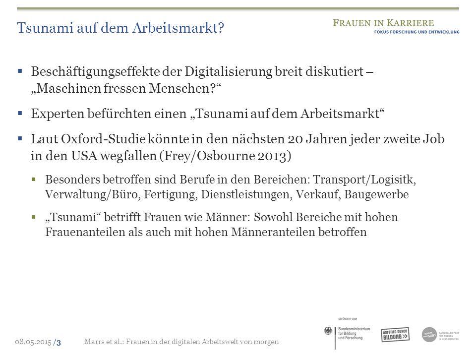 08.05.2015 /3Marrs et al.: Frauen in der digitalen Arbeitswelt von morgen Tsunami auf dem Arbeitsmarkt?  Beschäftigungseffekte der Digitalisierung br