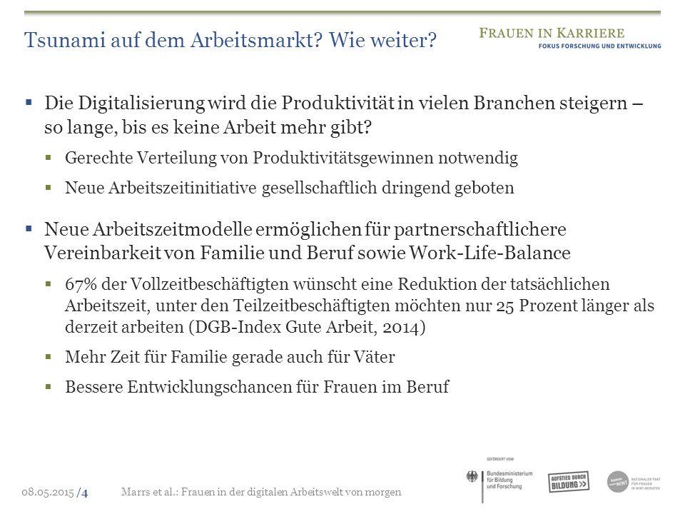 08.05.2015 /4Marrs et al.: Frauen in der digitalen Arbeitswelt von morgen Tsunami auf dem Arbeitsmarkt? Wie weiter?  Die Digitalisierung wird die Pro