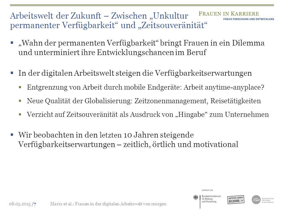 """08.05.2015 /7Marrs et al.: Frauen in der digitalen Arbeitswelt von morgen Arbeitswelt der Zukunft – Zwischen """"Unkultur permanenter Verfügbarkeit"""" und"""