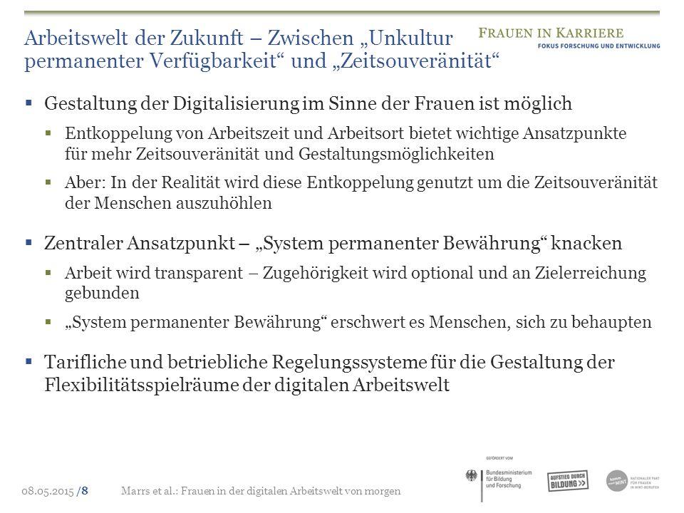 """08.05.2015 /8Marrs et al.: Frauen in der digitalen Arbeitswelt von morgen Arbeitswelt der Zukunft – Zwischen """"Unkultur permanenter Verfügbarkeit"""" und"""