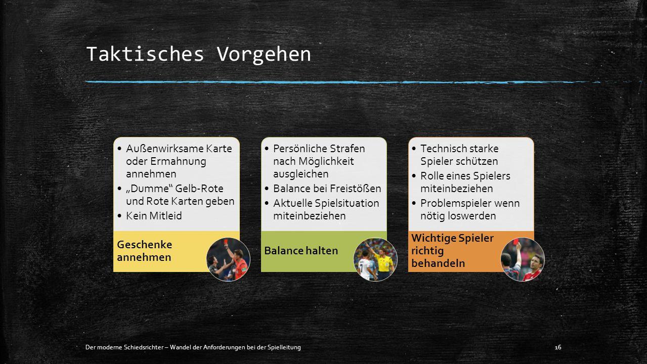 """Taktisches Vorgehen Der moderne Schiedsrichter – Wandel der Anforderungen bei der Spielleitung16 Außenwirksame Karte oder Ermahnung annehmen """"Dumme"""" G"""