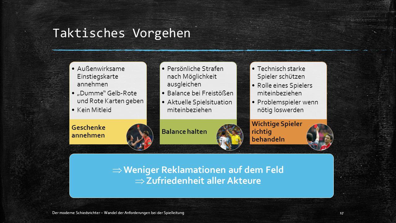 """Taktisches Vorgehen Der moderne Schiedsrichter – Wandel der Anforderungen bei der Spielleitung17 Außenwirksame Einstiegskarte annehmen """"Dumme"""" Gelb-Ro"""