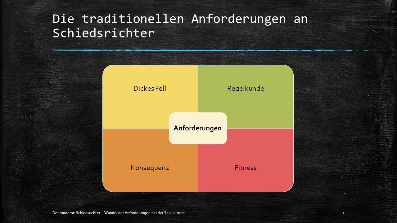 Die traditionellen Anforderungen an Schiedsrichter Der moderne Schiedsrichter – Wandel der Anforderungen bei der Spielleitung2 Dickes FellRegelkunde K