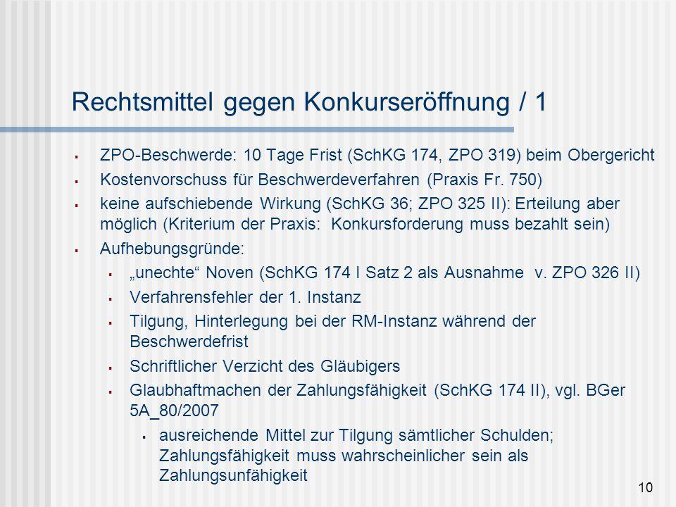 10 Rechtsmittel gegen Konkurseröffnung / 1  ZPO-Beschwerde: 10 Tage Frist (SchKG 174, ZPO 319) beim Obergericht  Kostenvorschuss für Beschwerdeverfa