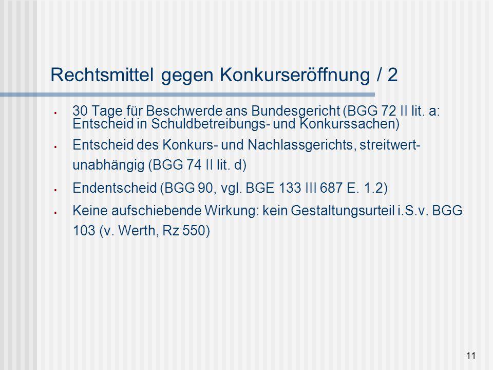 11 Rechtsmittel gegen Konkurseröffnung / 2  30 Tage für Beschwerde ans Bundesgericht (BGG 72 II lit. a: Entscheid in Schuldbetreibungs- und Konkurssa