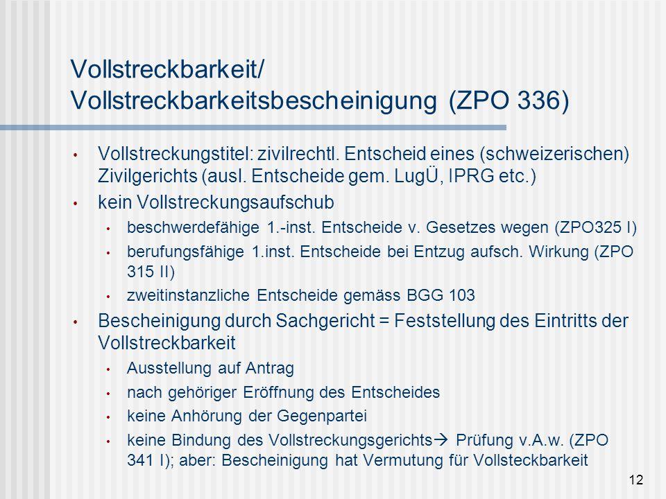 Vollstreckbarkeit/ Vollstreckbarkeitsbescheinigung (ZPO 336) Vollstreckungstitel: zivilrechtl. Entscheid eines (schweizerischen) Zivilgerichts (ausl.