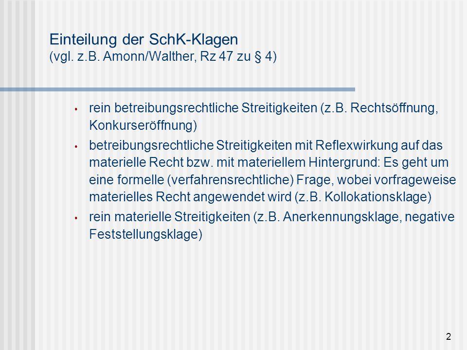 Einteilung der SchK-Klagen (vgl. z.B. Amonn/Walther, Rz 47 zu § 4) rein betreibungsrechtliche Streitigkeiten (z.B. Rechtsöffnung, Konkurseröffnung) be