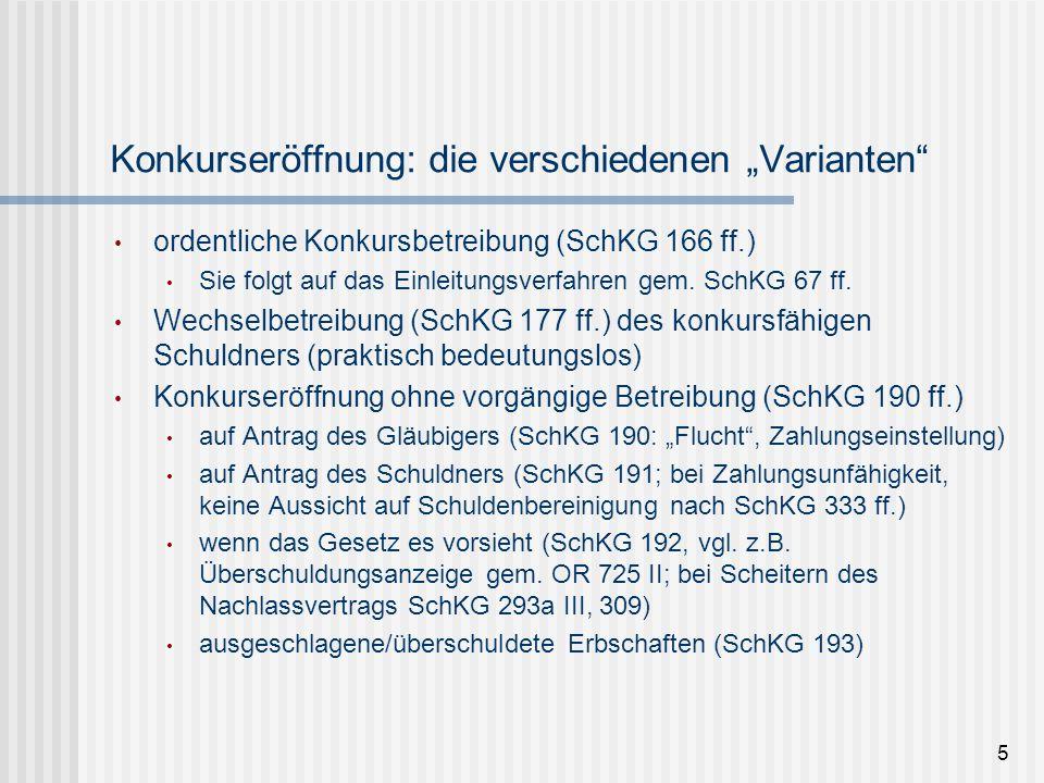 6 vorausgegangenes Einleitungsverfahren bei ordentlicher Konkursbetreibung  Betreibungsbegehren, dann Zahlungsbefehl (SchKG 67, 69)  bei RV: Beseitigung des Rechtsvorschlages in gerichtlichen Verfahren (SchKG 74, 79 ff.)  Fortsetzungsbegehren (SchKG 88)  Konkursandrohung durch BA (SchKG 159), ausser für Forderungen nach SchKG 43*  (u.a.) Nennung des gesamten geschuldeten Ausstandes (inkl.