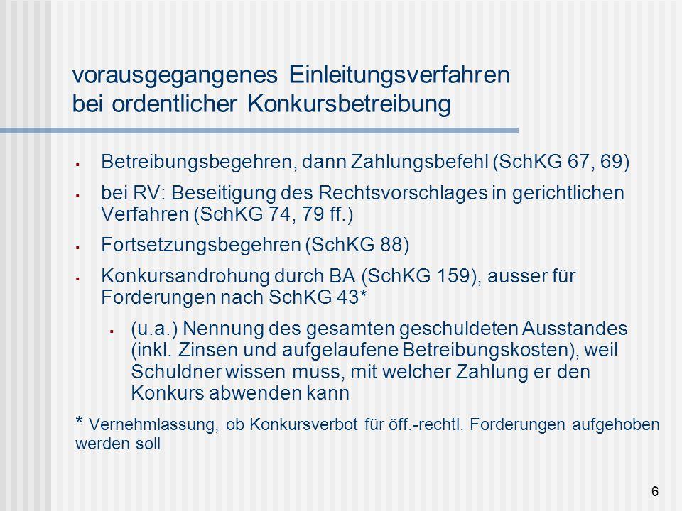 7 Konkurseröffnungsverfahren / 1 (SchKG 166 ff., ZPO 248 lit.