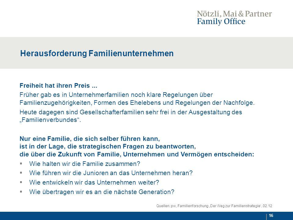 16 Herausforderung Familienunternehmen Freiheit hat ihren Preis...