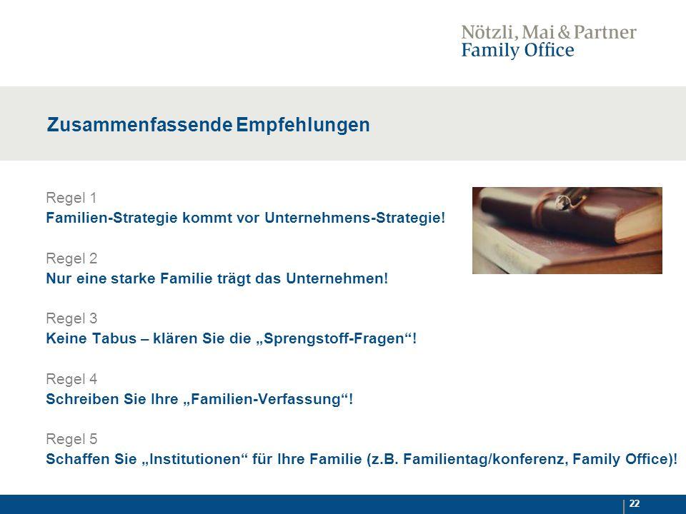 22 Zusammenfassende Empfehlungen Regel 1 Familien-Strategie kommt vor Unternehmens-Strategie.