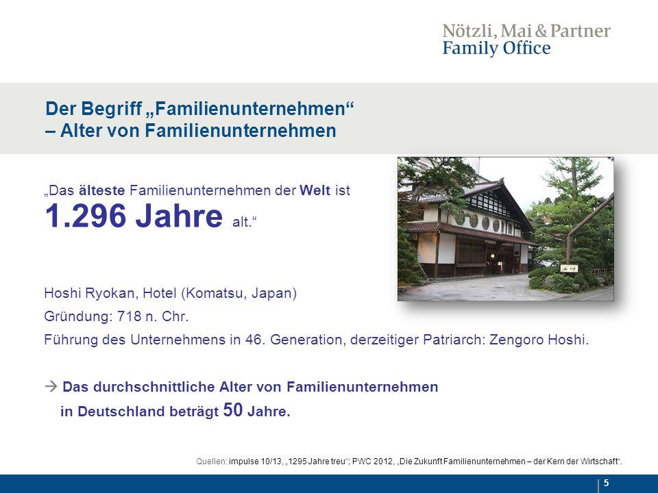 """5 Der Begriff """"Familienunternehmen – Alter von Familienunternehmen """"Das älteste Familienunternehmen der Welt ist 1.296 Jahre alt. Hoshi Ryokan, Hotel (Komatsu, Japan) Gründung: 718 n."""