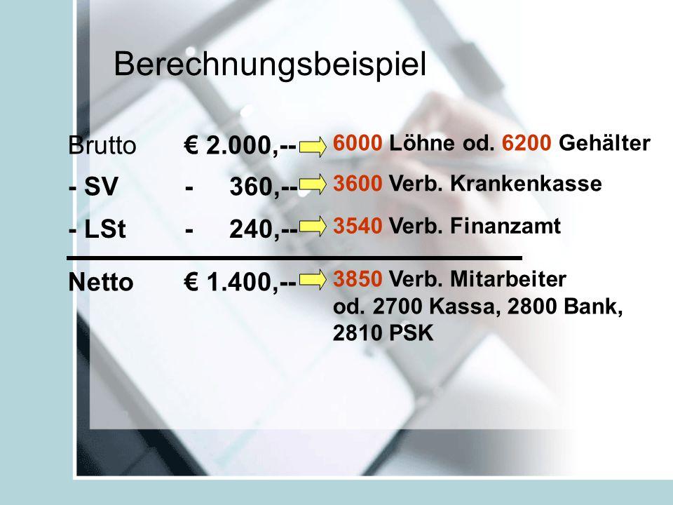 Berechnungsbeispiel Brutto - SV - LSt Netto € 2.000,-- - 360,-- - 240,-- € 1.400,-- 6000 Löhne od.